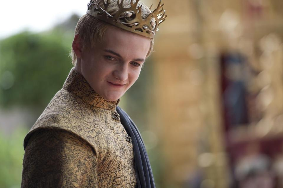 Jack Gleeson (above) as King Joffrey. Sophie Turner (left) as  Sansa Stark with Peter Dinklage as Tyrion Lannister.