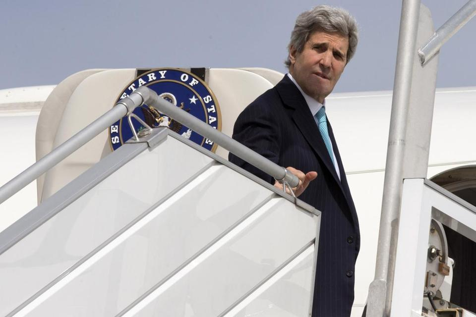 The State Department said John Kerry was flying from Paris to Tel Aviv for meetings that may be held in Jerusalem and Ramallah.