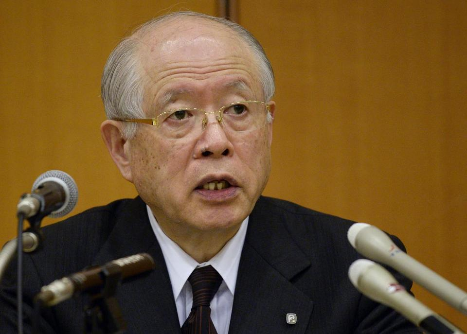 Nobel Prize in Chemistry laureate and RIKEN Institute President Ryoji Noyori, president of the leading Japanese scientific institute RIKEN, spoke during a press conference in Tokyo.