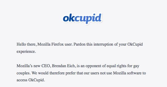 This messages appears when a user attempts to access OkCupid.com using the Mozilla Firefox browser.
