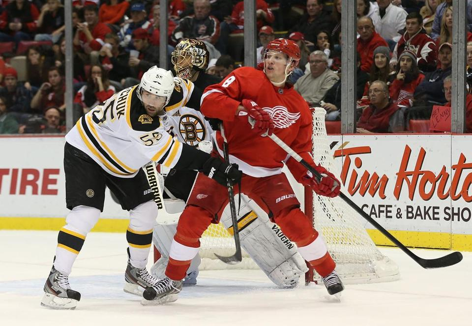 The Bruins and Red Wings will joust in Detroit Wednesday night, and could meet again in the postseason.. (Photo by Leon Halip/Getty Images)