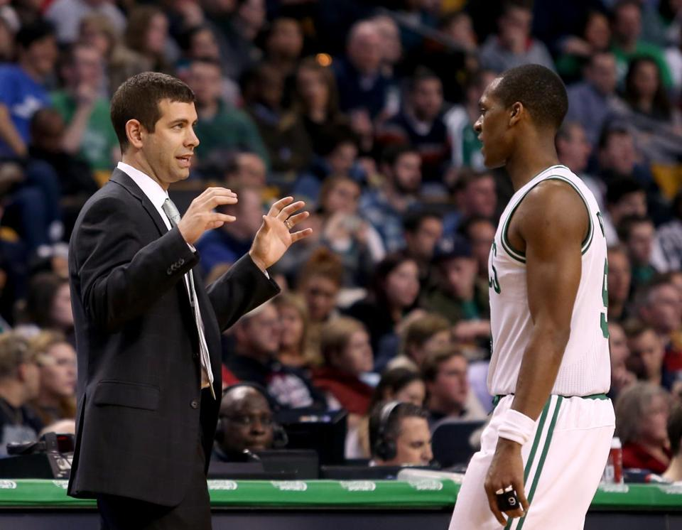 Brad Stevens and Rajon Rondo both spend hours breaking down film.  (AP Photo/Mary Schwalm)