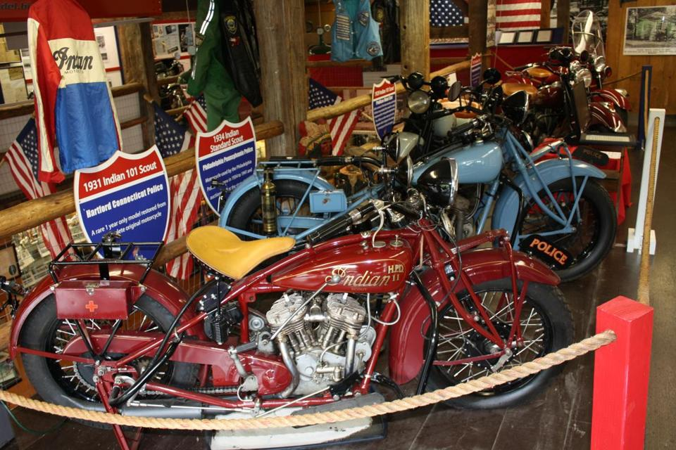A collection of Springfield, Massachusetts-based Indian motorcycles is on display at the American Police Motorcycle Museum in Meredith, N.H.