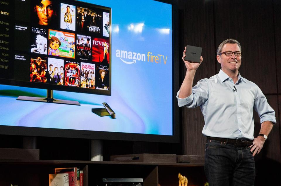 Amazon vice president Peter Larsen introduced Fire TV Wednesday, which will compete with Roku and Apple.