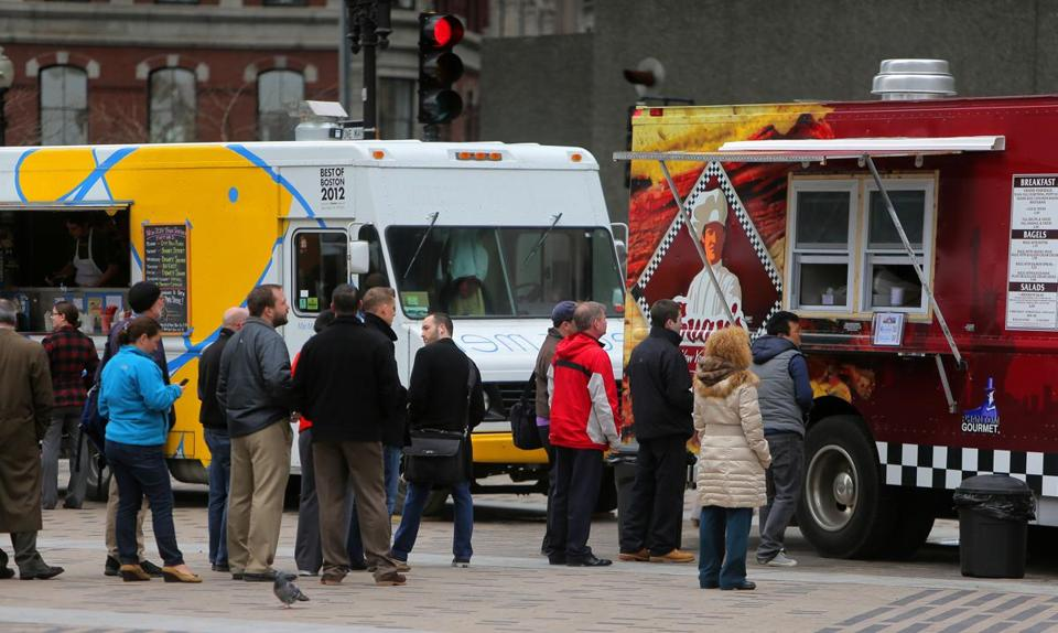 Food trucks, pictured here on the Greenway in April, became popular in Los Angeles before spreading to other US cities.