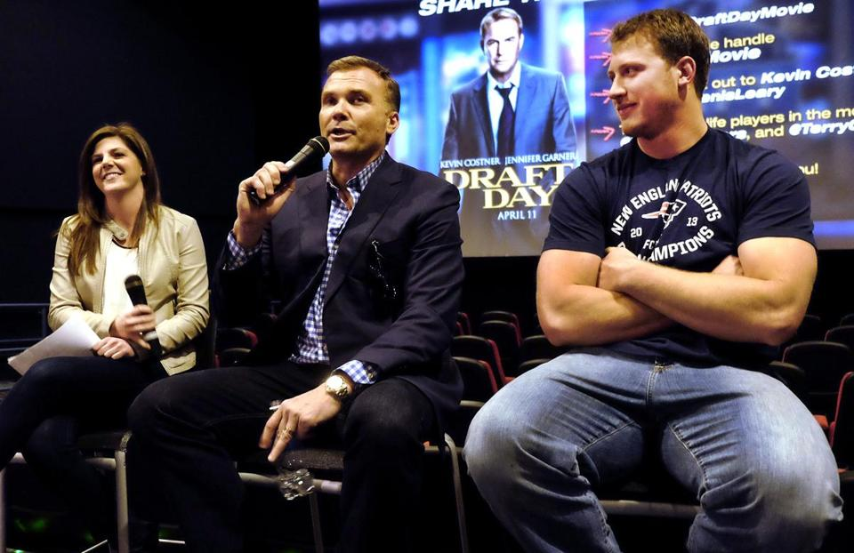 "From left: Jackie Brittain of Patriots.com, Scott Zolak, and Nate Solder at the ""Draft Day"" screening."