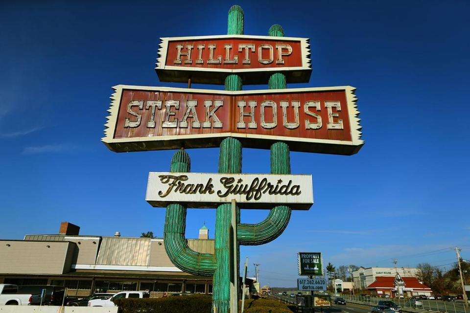 The cactus sign of the now-closed Hilltop Steakhouse is part of Route 1 kitsch.