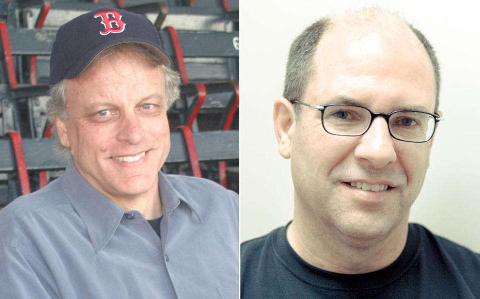 Coauthors Bill Nowlin (left) and Allan Wood talk to many people involved with the Red Sox's historic comeback against the Yankees — from players to bat boys to doctors.