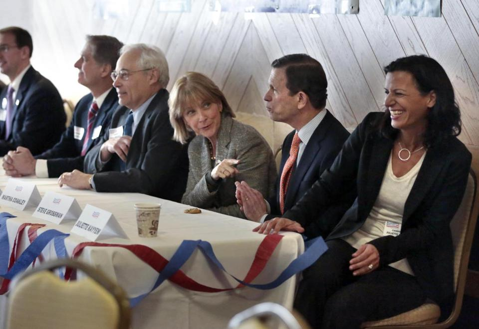 Joseph Avellone (left), Donald Berwick, Martha Coakley, Steven Grossman, and Juliette Kayyem took part in a candidate event in January in Pittsfield. To secure a primary spot, they must win 15 percent of delegate support at the convention.