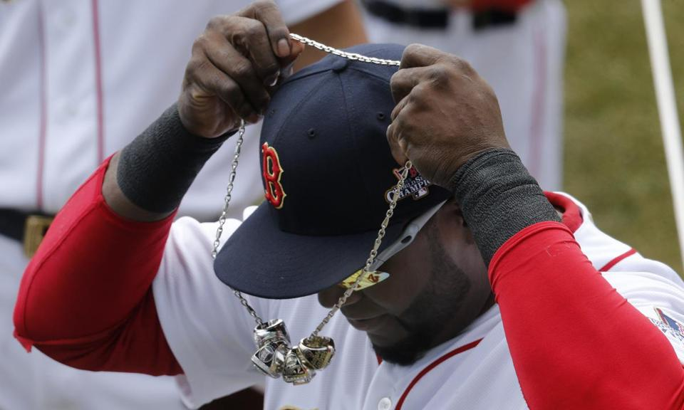 David Ortiz received two rings at Thursday's ceremony, one for the World Series championship and the other for his World Series MVP award.