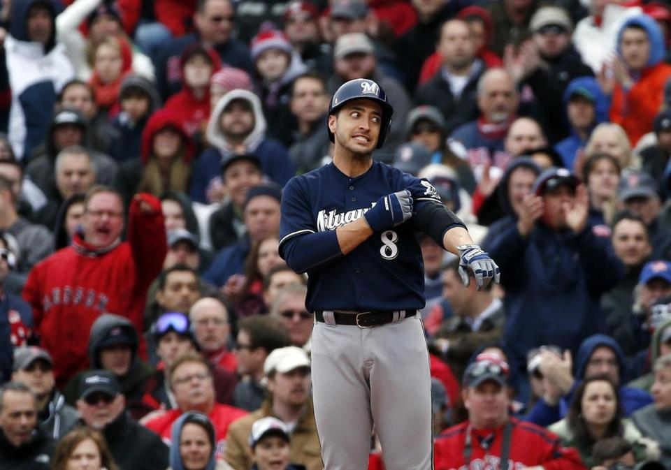 Brewers' Ryan Braun didn't agree with the call after he grounded out on a close play at first base in the seventh inning at Fenway Park.