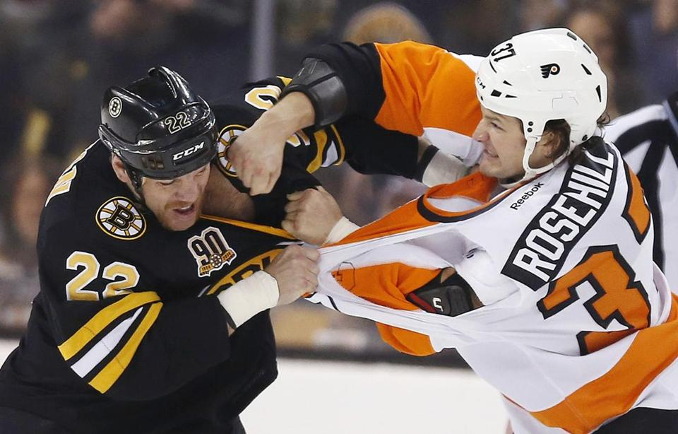 The knock on fighting is the participants can't do much more, but that was not the case with Shawn Thornton - duking it out with the Flyers' Jay Rosehill in April - during his seven seasons with the Bruins. (AP Photo/Michael Dwyer)