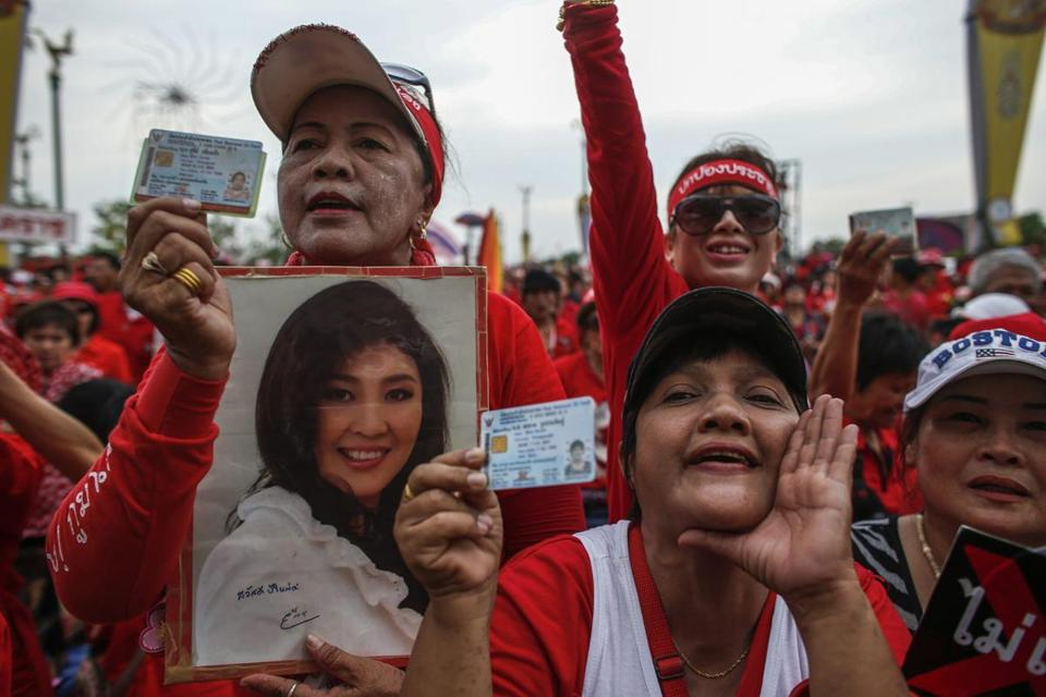 Supporters of Thailand's government, known as Red Shirts, rallied outside Bangkok on Saturday. At a Red Shirt gathering in November, there was a shooting and five people died.