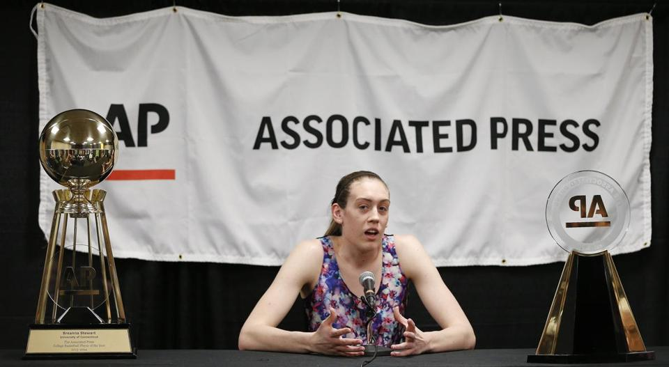 UConn sophomore forward Breanna Stewart was recognized Saturday as the Associated Press player of the year.