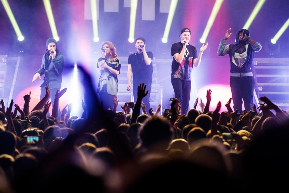 A cappella group Pentatonix performing the first of two sold-out shows at the House of Blues on Saturday.