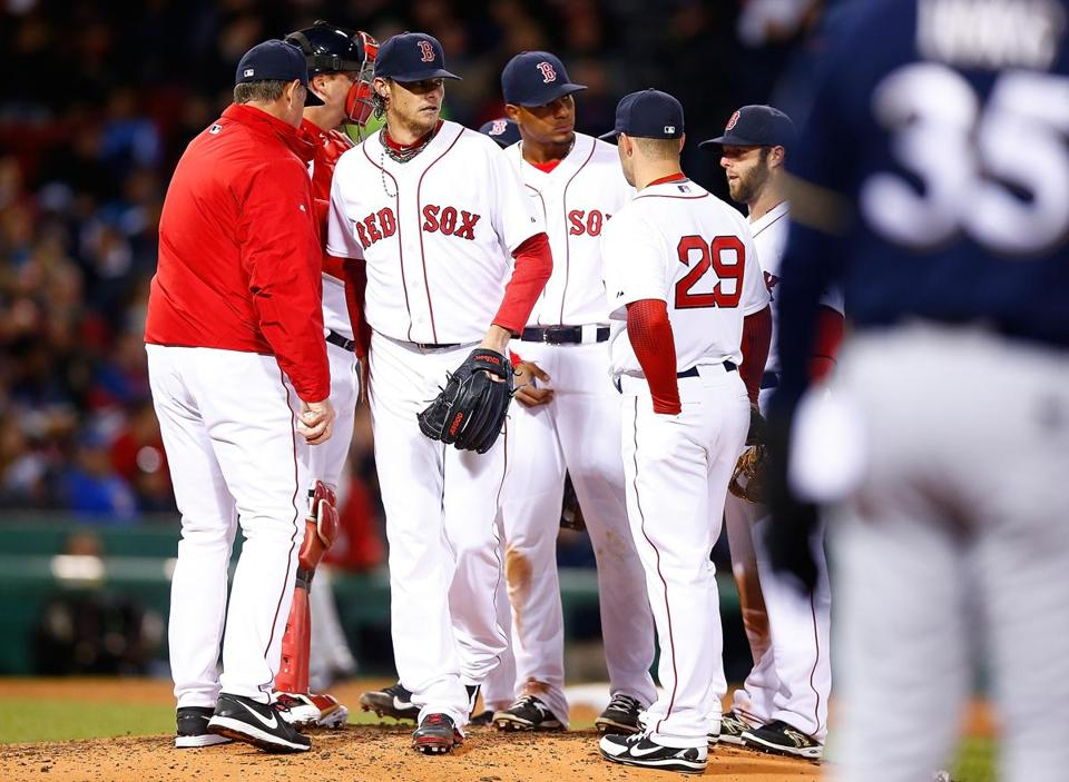 Clay Buchholz was pulled from the game in the fifth inning.(Jared Wickerham/getty Images)