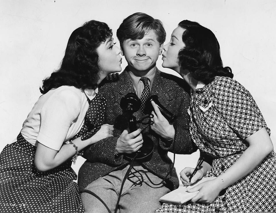 "Ann Rutherford, Mickey Rooney, Kathryn Grayson in 1941's ""Andy Hardy's Private Secretary."""