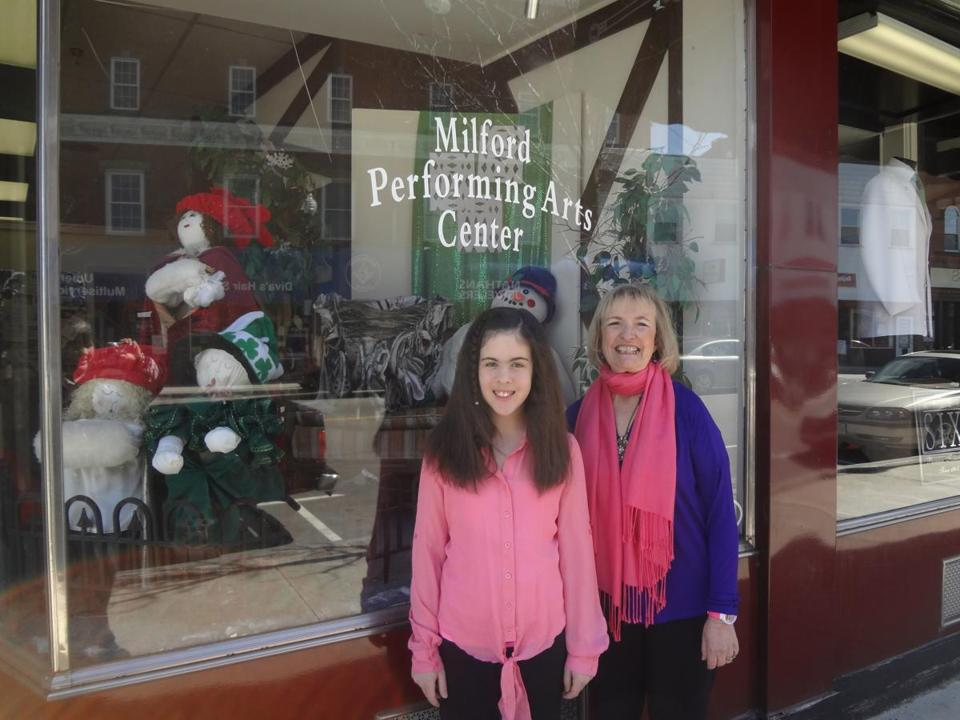 Brittany Silverman, with Milford Performing Arts Center director Carol Devendorf. The telethon airs Sunday.