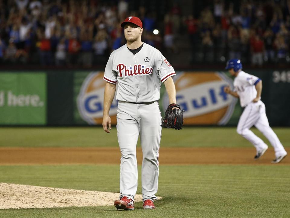 Jonathan Papelbon left the field after giving up the game winning walk during the ninth inning Wednesday at Texas.
