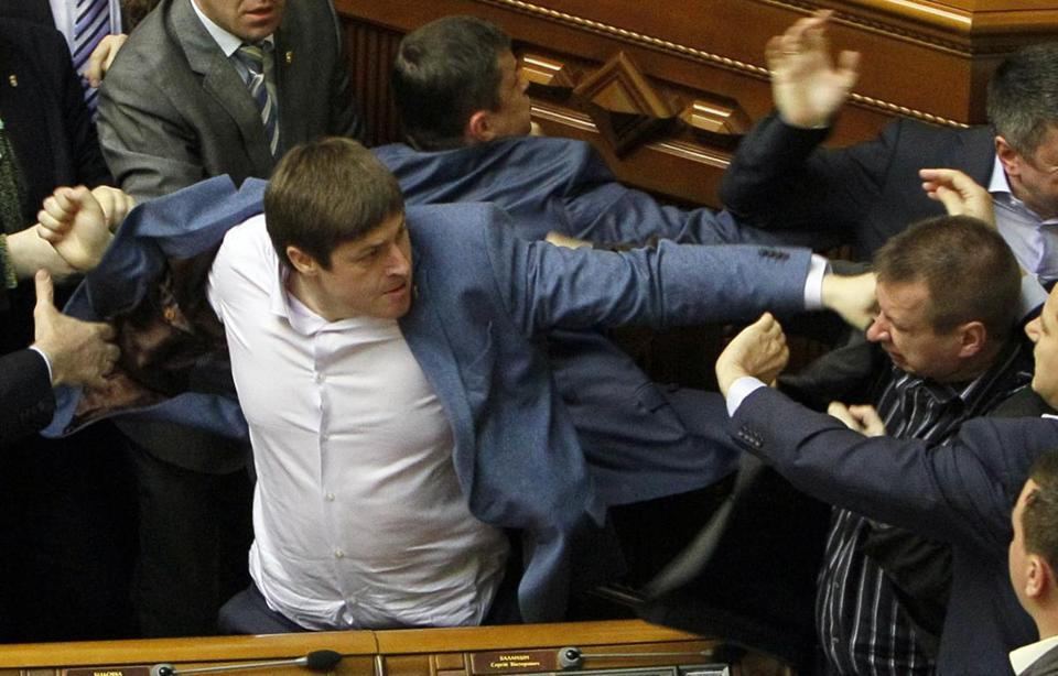Deputies clash during a session of the Ukrainian parliament in Kiev April 8.