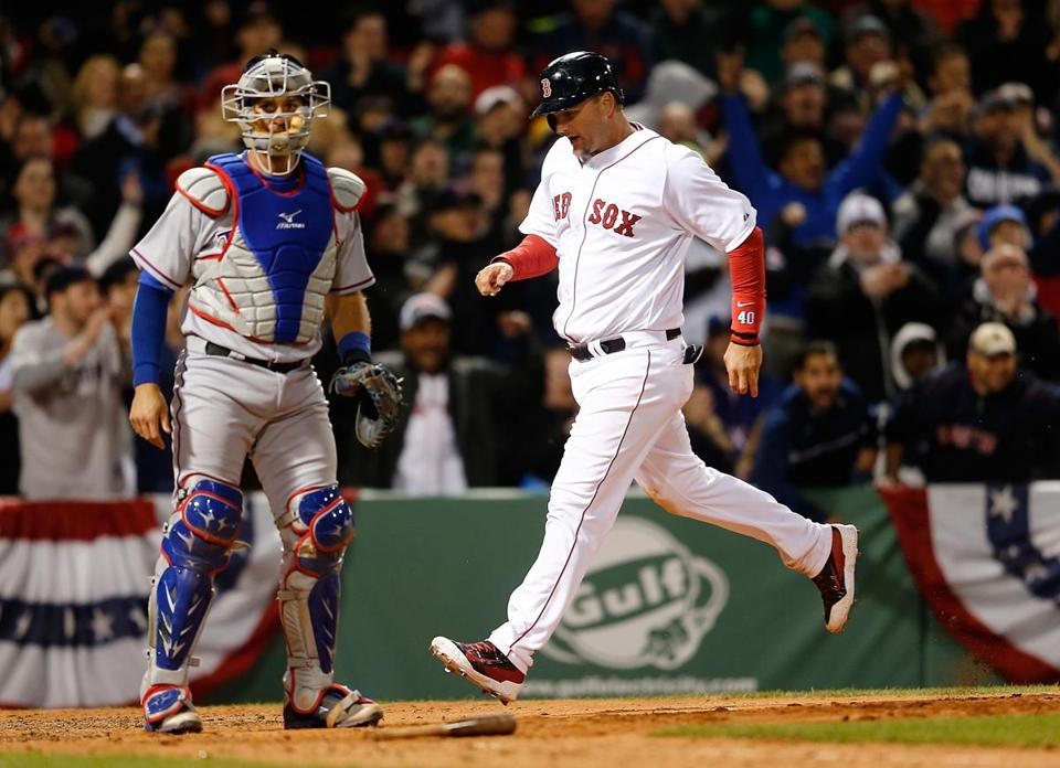 A.J. Pierzynski scores in the eighth inning for the Red Sox' third run.