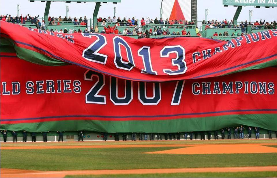 The Red Sox unfurled the 2013 World Series banner during the pregame ceremony.