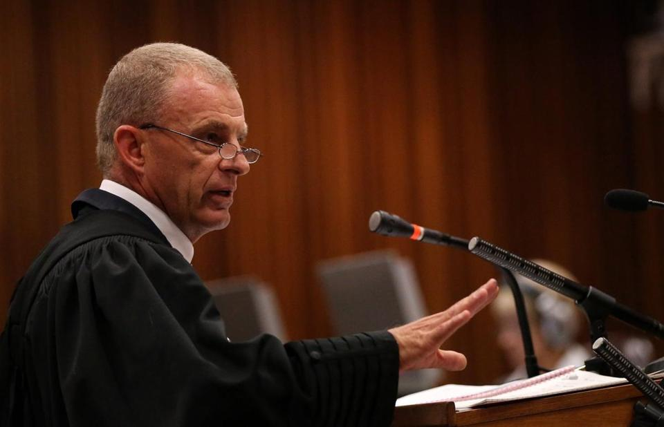 State prosecutor Gerrie Nel cross-examined South African Olympic and Paralympic sprinter Oscar Pistorius.