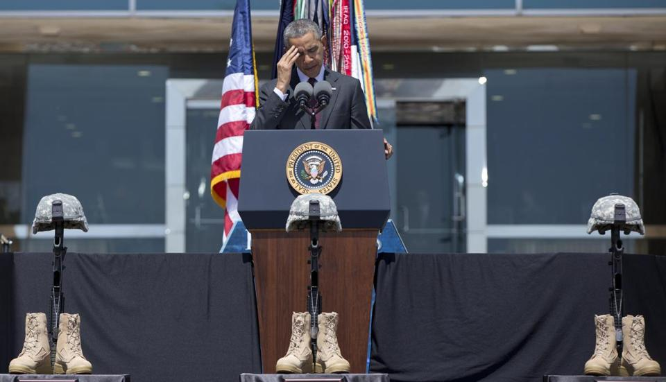 President Obama paused while speaking during a memorial ceremony at Fort Hood, Tex.