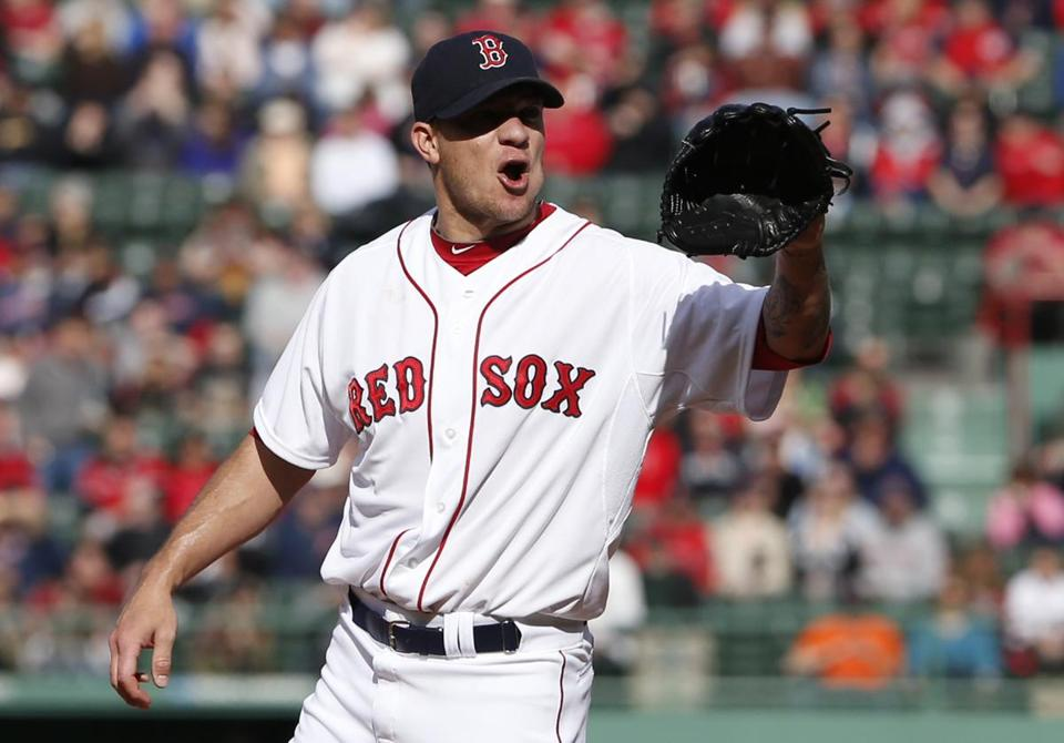 Jake Peavy expressed his feelings about a first-inning pitch call by the home-plate umpire.