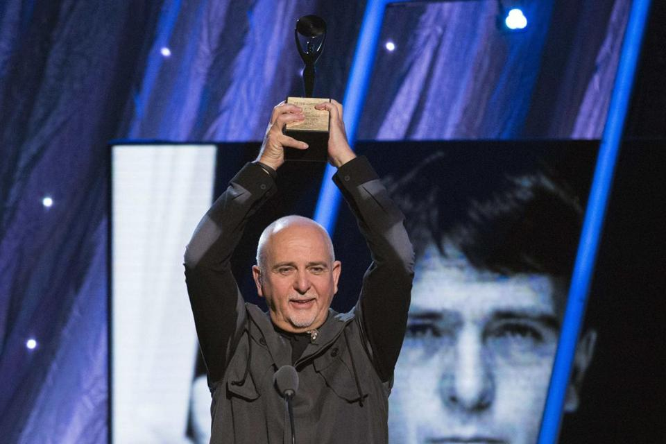 Musician Peter Gabriel was inducted into the Rock and Roll Hall of Fame at the Barclays Center in Brooklyn, New York.