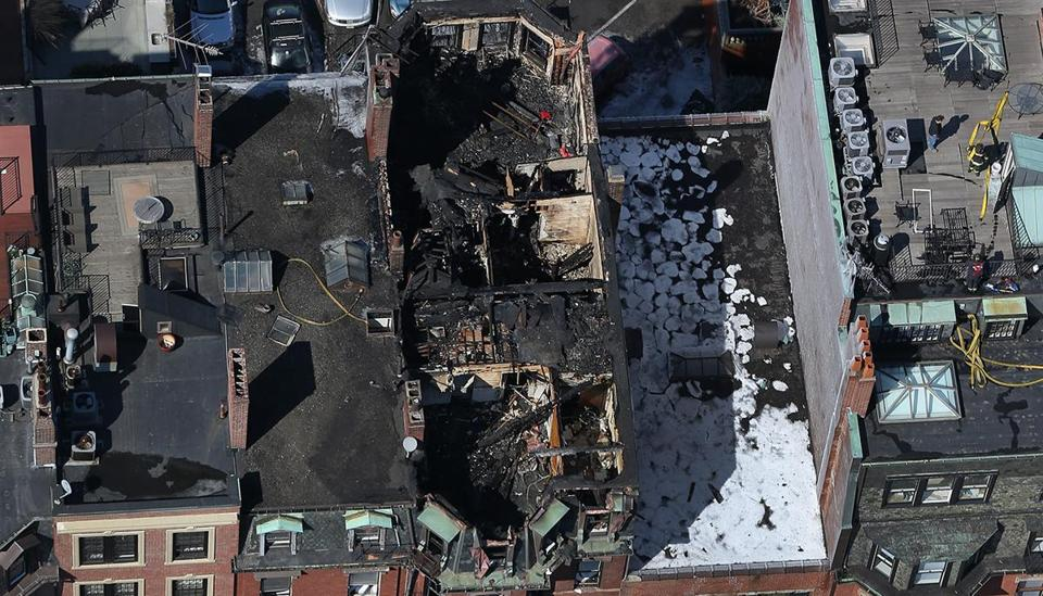 Aftermath of the fire at 298 Beacon St. in the Back Bay.