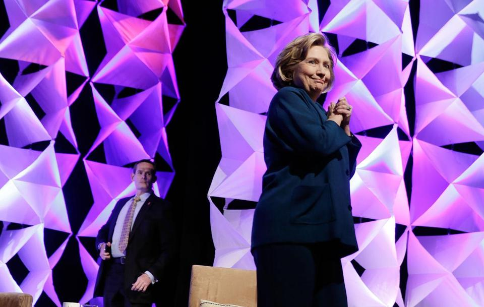A woman threw an object at Hillary Clinton during a speech in Las Vegas.
