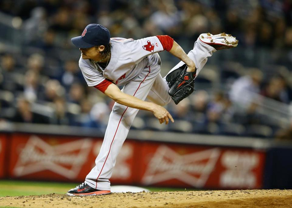 Red Sox starter Clay Buchholz struck out six Yankees over six innings, but also allowed seven hits.