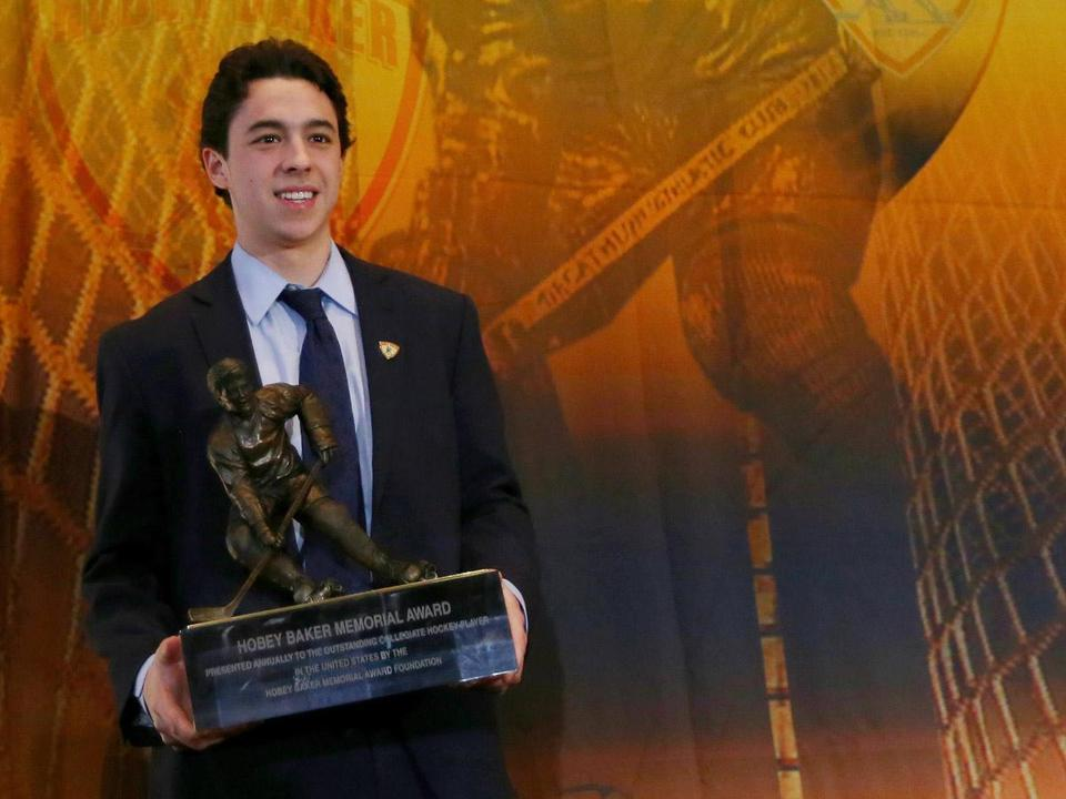 After picking up some prestigious hardware Friday, BC's Johnny Gaudreau jetted off to join his new team, the Calgary Flames.