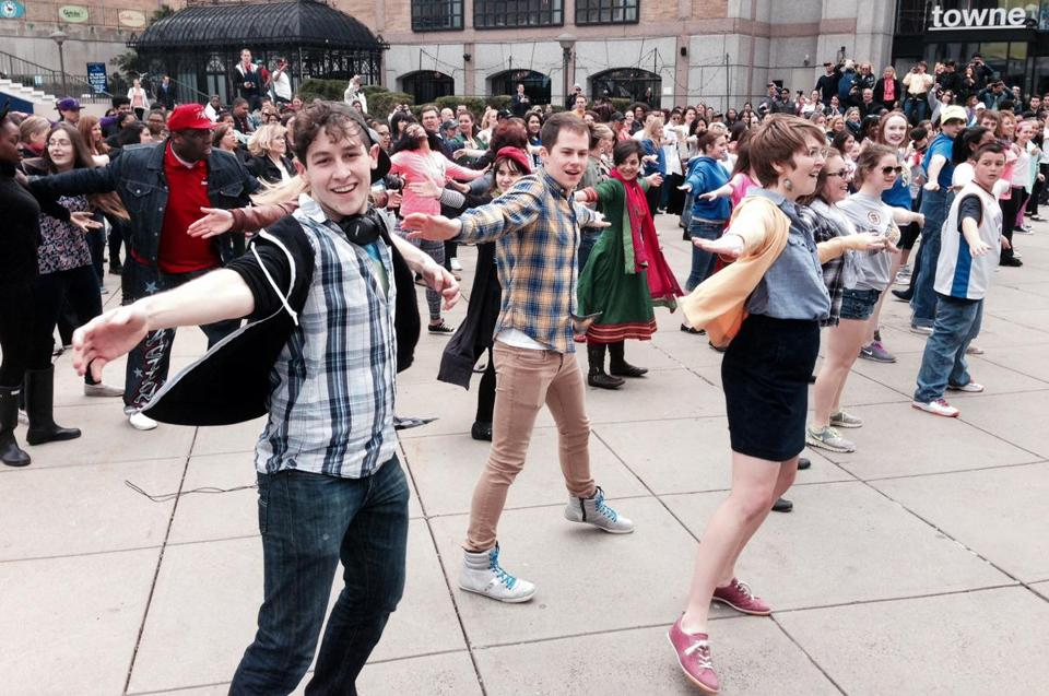More than 250 people from dance studios in the Boston area participated in a flash mob at Boylston Plaza Sunday.
