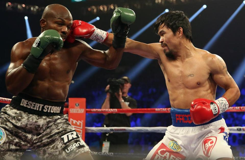 Manny Pacquiao landed a right hand to the head of Timothy Bradley.
