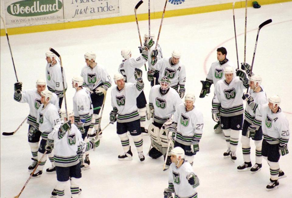 In their final game in Hartford, the Whalers defeated the Lightning, then gave their faithful fans a stick salute.
