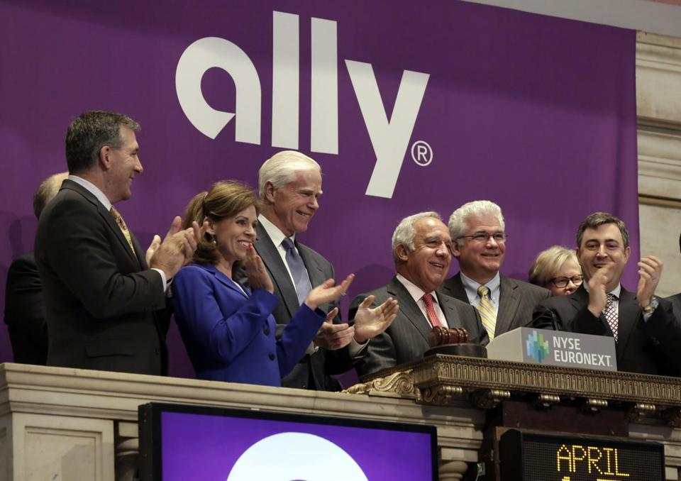 Ally, the largest IPO this year, priced its shares at $25 each. GM's former financing arm fell 4 percent in its premiere Thursday.