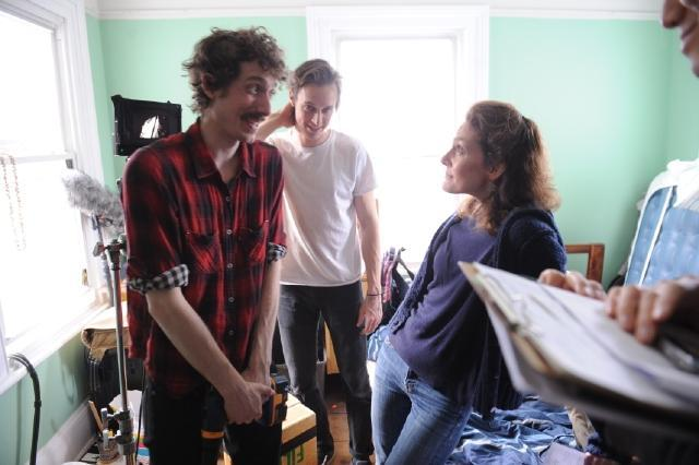Leah Hager Cohen (right) with art director Owen Hope (left) and production designer Danny Madden, both Emerson grads, on the set.