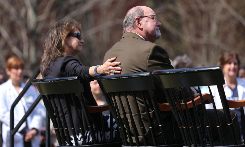 John Odom and his wife Karen attended a flag-raising ceremony at Boston Medical Center Monday.