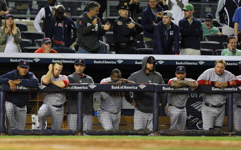 The Red Sox looked downcast as they finished up a loss to the Yankees Sunday night.