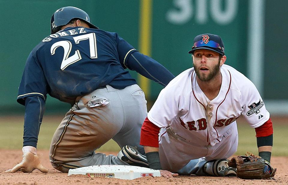 Dustin Pedroia was injured during the home opener against the Milwaukee Brewers April 4.