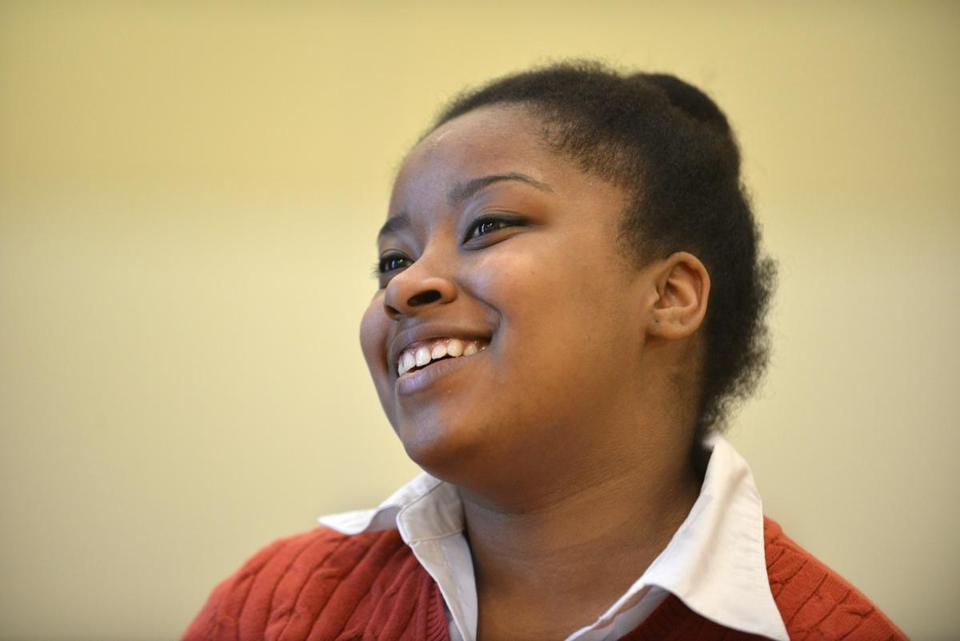 Ashley Herbert, 17, of Roxbury, a student at the Edward M. Kennedy Academy for Health Careers is one of three Boston teens who emerged as finalists from the city's August Wilson Monologue Competition and who'll be competing in the national contest on May 5 in New York. Josh Reynolds for The Boston Globe (Arts, Schulz )