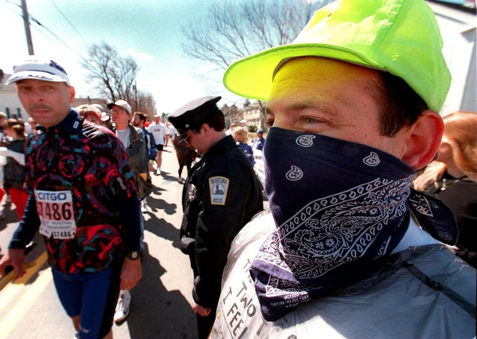 Barry Sherman (right) from Worcester ran in his fourth Boston Marathon as a bandit in 1996.