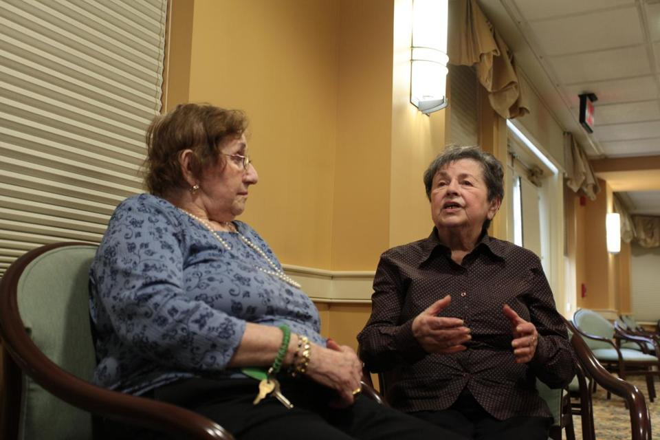 Aviv Center residents Hannah Rottenberg (left) and Jean Wall talk about survival.