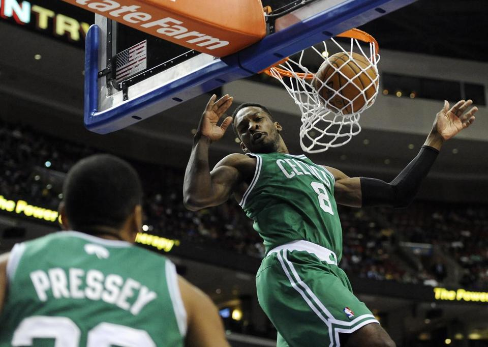 Jeff Green scored on a dunk while Phil Pressey watched.