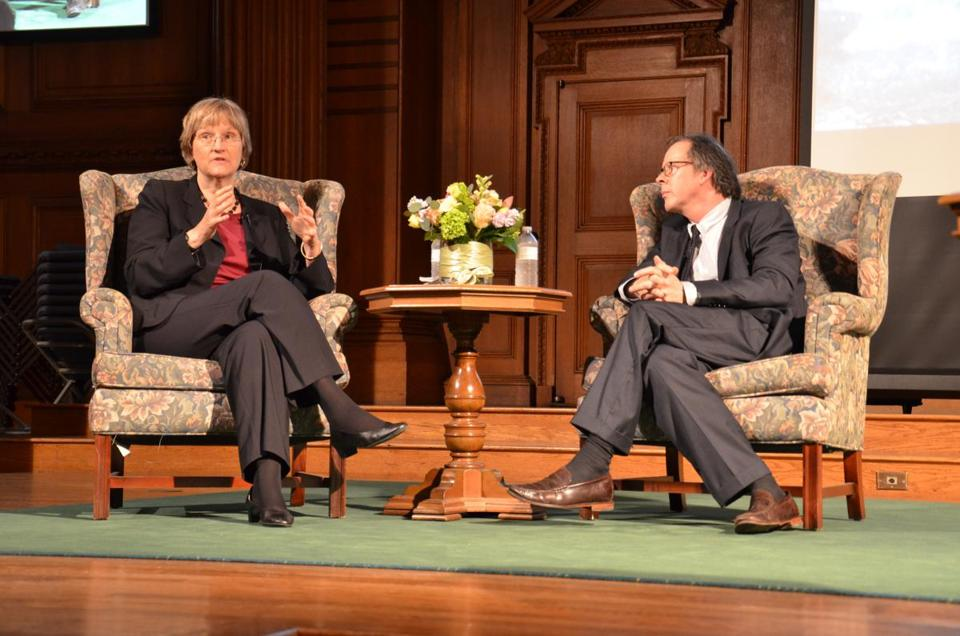 Harvard's Drew Gilpin Faust with documentary filmmaker Ric Burns.