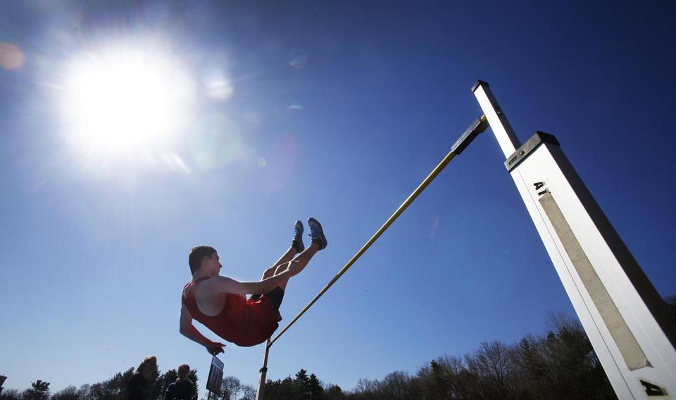 High jumper Eric Wicks of St. John's of Shrewsbury cleared 5 feet 8 inches at the 20th annual Route 228 Invitational in Hingham on April 12.