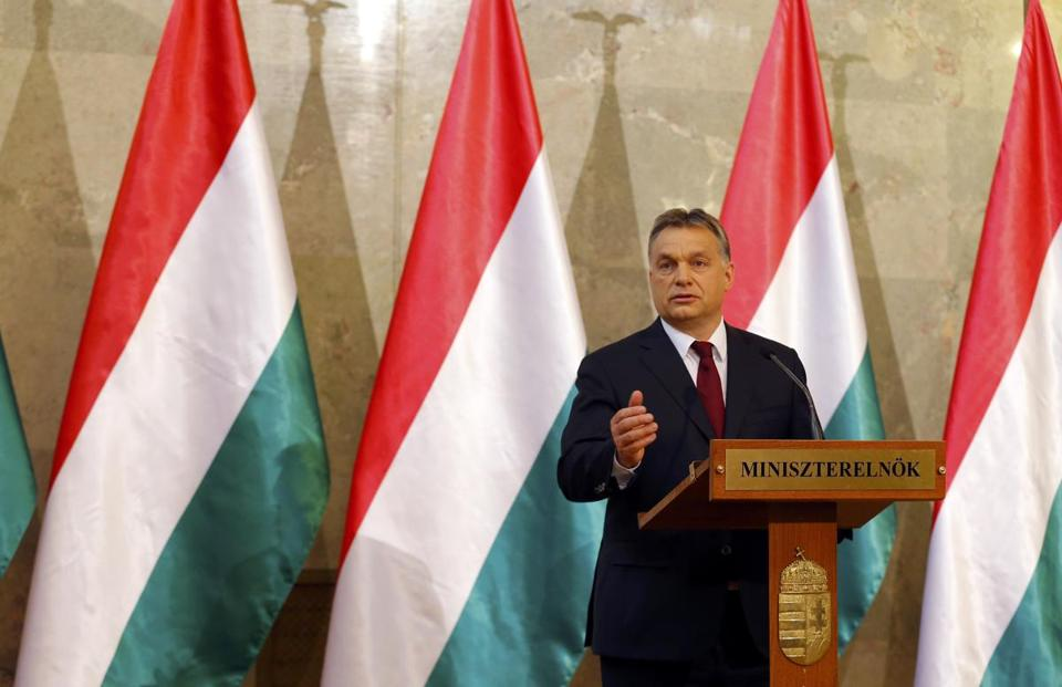 Hungary's Prime Minister Viktor Orban addresses a news conference after parliamentary elections in Budapest April 7, 2014.