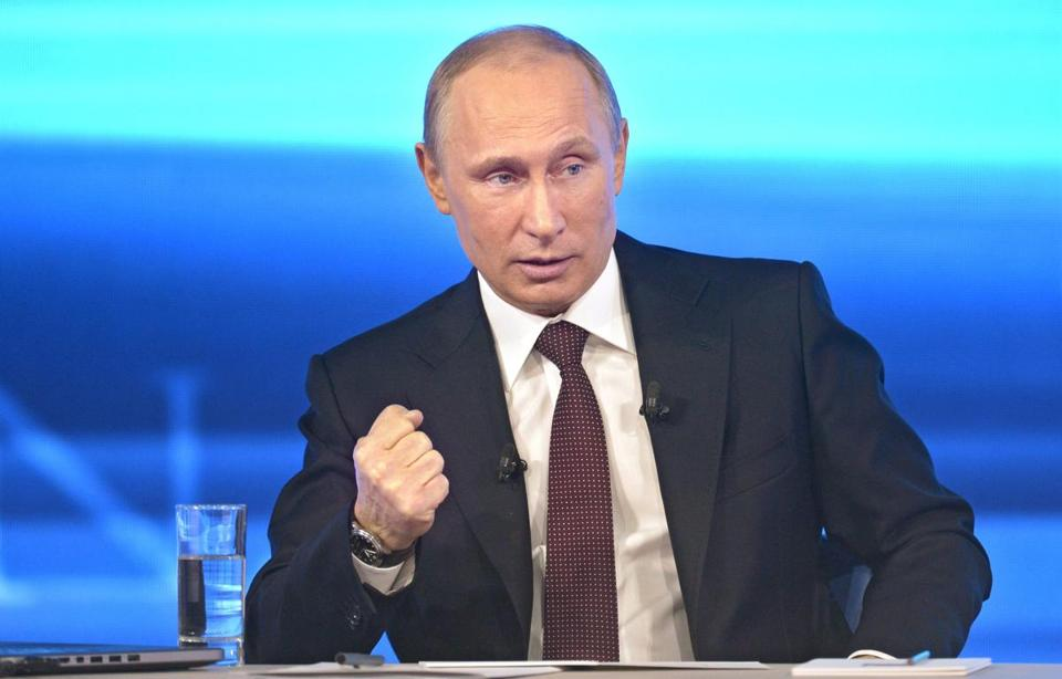 Russian President Vladimir Putin gestured Thursday while speaking during his annual call-in live broadcast in Moscow.